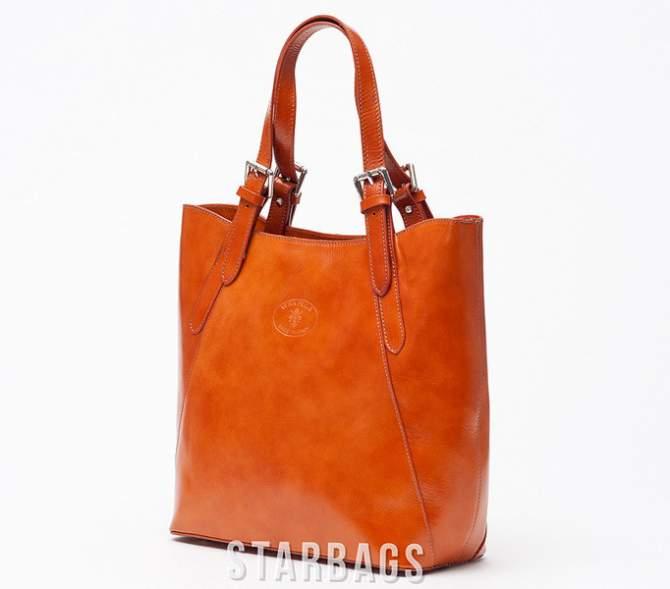 Ceremonia Shopper Bag Torebka 100% Skóra Camel T4