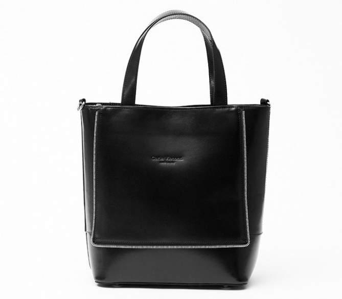Włoska Torebka Vera Pelle Shopperka Skóra Black 12