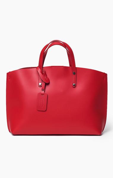 Vera Pelle Włoska Torebka Skóra Shopper Red 311
