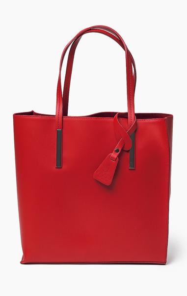 Vera Pelle Włoska Torebka Skóra Shopper Red 643